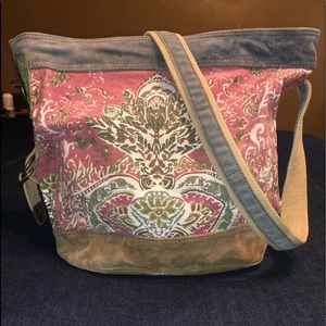 Lucky Brand Runaway Large Tote Suede Canvas Purse